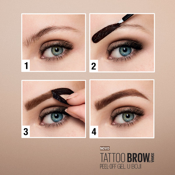 Maybelline Brow Tattoo peel-off gel u boji oblikovanje obrva